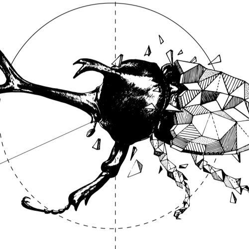 独角仙科幻炫酷爆裂几何立体构成
